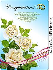 pozvání, svatba, card., vektor, ilustrace