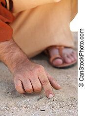 pozwy, palec, jezus
