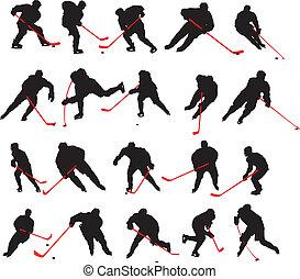pozy, 20, szczegół, lód hokej