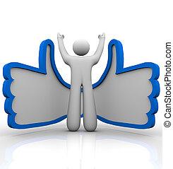 pozycja, -, do góry, pochlebny, osoba, kciuki, online, ...
