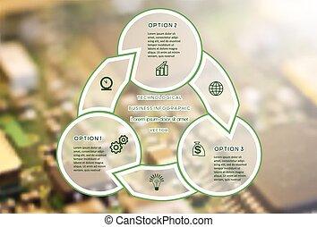 pozycje, infographic, trzy, handlowy, techniczny