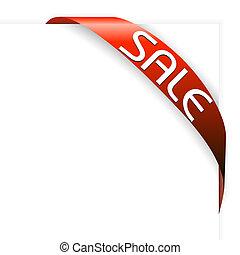 pozycje, wstążka, sprzedaż, czerwony, róg