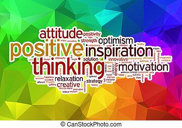 pozytyw myśli, słowo, chmura, z, abstrakcyjny, tło