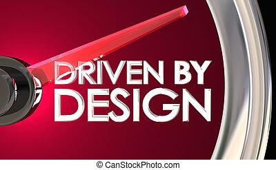pp de drive, por, diseño, coche, automóvil, velocímetro, creativo, inspiración, 3d, ilustración