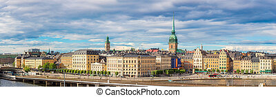 Ppanorama of the Old Town (Gamla Stan) in Stockholm, Sweden