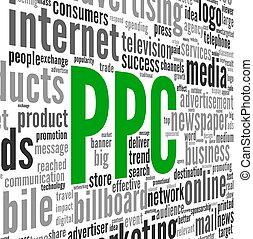 ppc, 概念, 単語, タグ, 広告, 雲