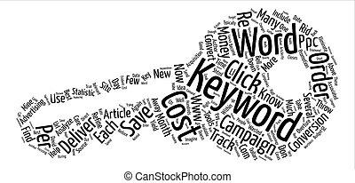 ppc, 概念, 単語, 最大にしなさい, キャンペーン, テキスト, いかに, 背景, あなたの, 雲