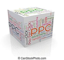 ppc, kubus, woord, markeringen, wordcloud, 3d