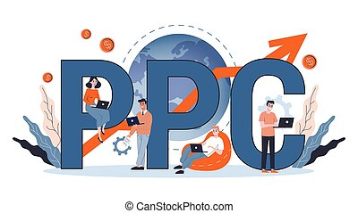 PPC pay per click advertising in the internet. Marketing strategy for business promotion. Pay for banner on the web page. Vector illustration in cartoon style