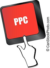 PPC (Pay Per Click) Concept. Button on Modern Computer Keyboard vector