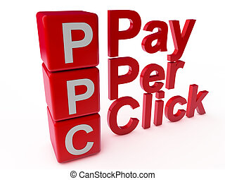 PPC Pay Per Click over white Background