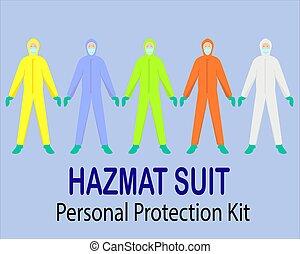 ppe, ∥あるいは∥, 色, 保護のスーツ, フルである, hazmat, 装置, 個人的