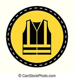 ppe, 印, visibilty, シンボル, 黒, icon., 背景, 高く, 衣類, ウエア