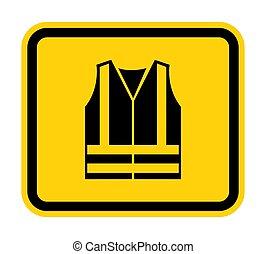 ppe, 印, visibilty, eps.10, シンボル, icon., イラスト, 高く, 隔離しなさい, 衣類, ベクトル, 背景, ウエア, 白