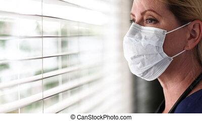 ppe, coupure, ou, fenêtre, enlever, figure, infirmière, ...