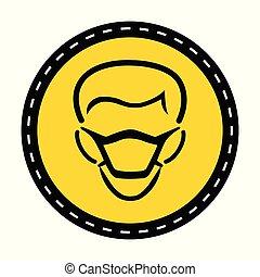PPE Icon.Wear Mask Symbol Sign On black Background