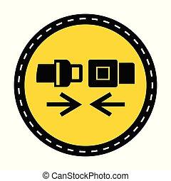 PPE Icon.Wear Safety Belt Symbol Sign On black Background On...