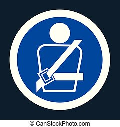 PPE Icon.Wearing a seat belt Symbol Sign On black Background