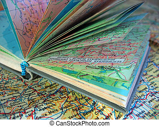 ppened, oud, atlas, boek, op, de, propageren, kaart