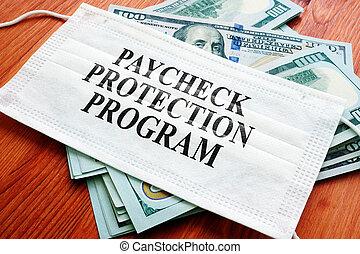 ppp, écrit, protection, argent., prêt, programme, chèque paie, masque, sba