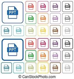 ppt, bestand, formaat, geschetste, plat, kleur, iconen