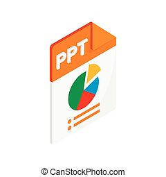 PPT extension text file icon, isometric 3d style - PPT ...