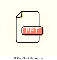PPT file format, extension color line icon. Vector ...