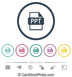 PPT file format flat color icons in round outlines. 6 bonus...