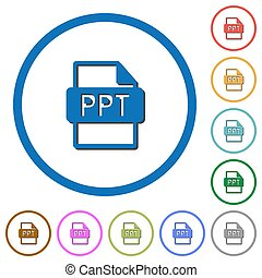 PPT file format icons with shadows and outlines - PPT file...