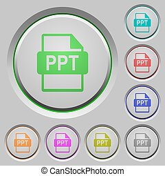 PPT file format push buttons - PPT file format color icons ...