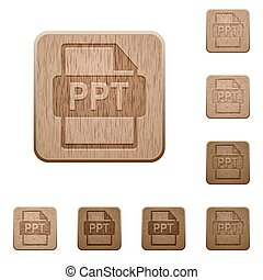 PPT file format wooden buttons - Set of carved wooden PPT...