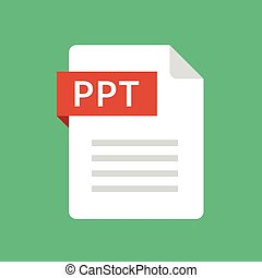 PPT file icon. Presentation document type. Modern flat...