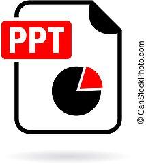 Ppt presentation file icon on white background