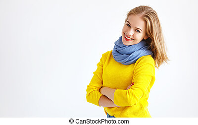 ppy young woman in yellow sweater on white background