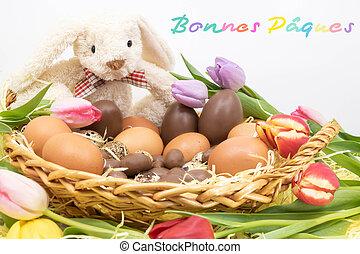 p?ques, (bonnes, écrit, french), lapin pâques, heureux