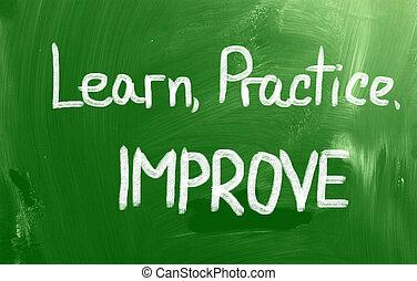 práctica, concepto, aprender, mejorar