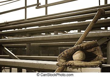 práctica del béisbol, escuela, alto