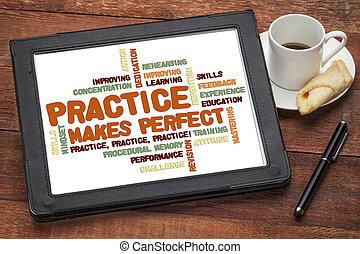 práctica, marcas, perfecto