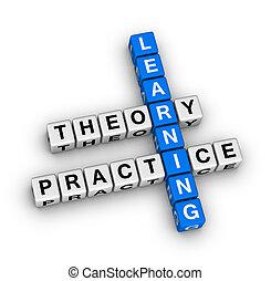 práctica, -, teoría, aprendizaje