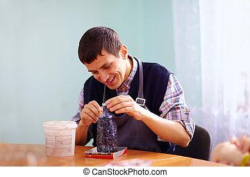 práctico, centro, ocupado, incapacidad, joven, artesanía,...