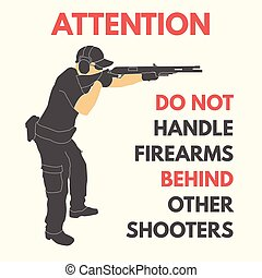 práctico, reglas, disparando, seguridad