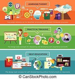 práctico, teoría, entrenamiento, selfeducation, aprendizaje
