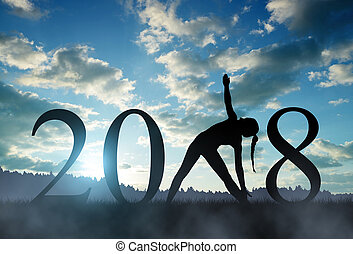 prática, 2018, ano, novo, menina, ioga