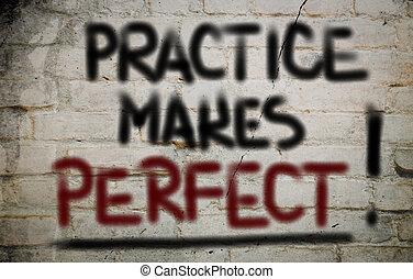 prática, faz, perfeitos, conceito