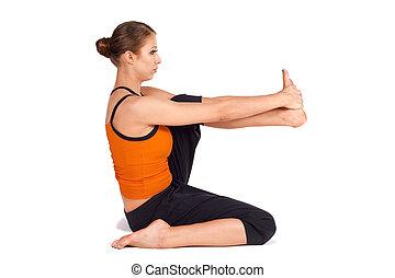prática, mulher, ioga
