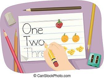 prática, número, ilustração, mão, palavras, criança