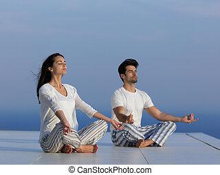 prática, par, ioga, jovem