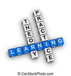 prática, -, teoria, aprendizagem