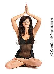 prática, yoga., jovem, excitado, mulher