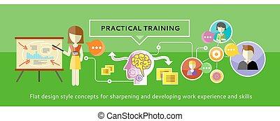 prático, treinamento, conceito